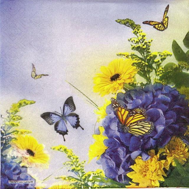 Paper Napkin - Blue & Yellow Garden
