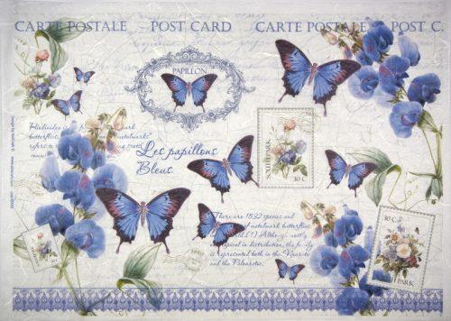Rice Paper -  Blue butterflies