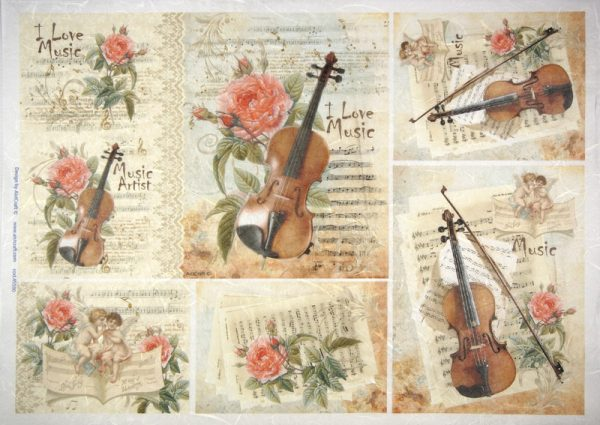 Rice Paper - Violin and flowers