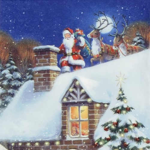 Paper Napkin - Santa on Rooftop with Reindeer