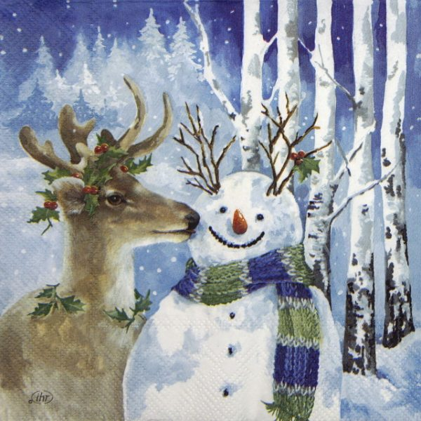 Lunch Napkins (20) - A kiss for snowman
