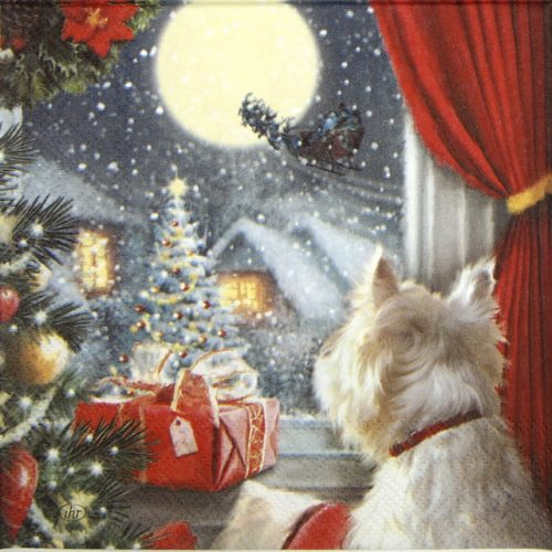 Lunch Napkins (20) - Dog is waiting for Christmas