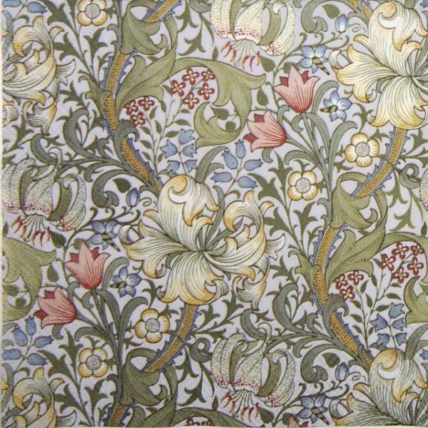 Cocktail Napkin - Golden Lily White
