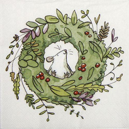 Cocktail Napkin - Anita Jeram: Mouse in Wreath