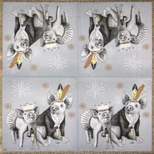 Lunch Napkins (20) -  Pigs grey