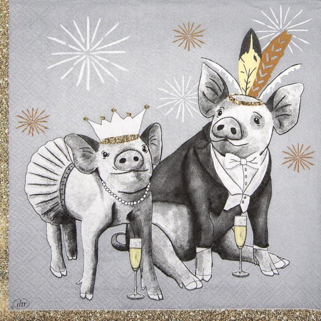 Paper Napkin - Pigs grey
