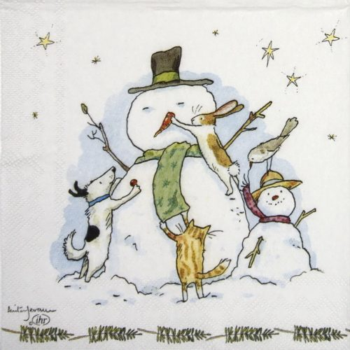 Paper Napkin - Anita Jeram: Snowman  with Friends