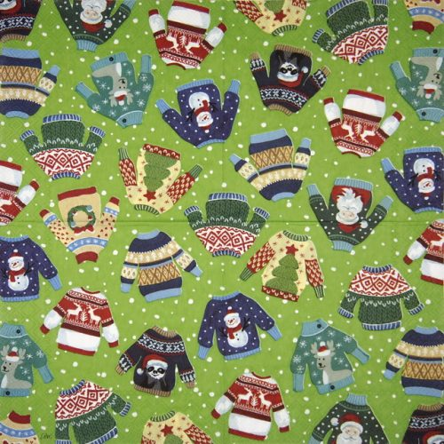 Paper Napkin - Ugly Sweater green