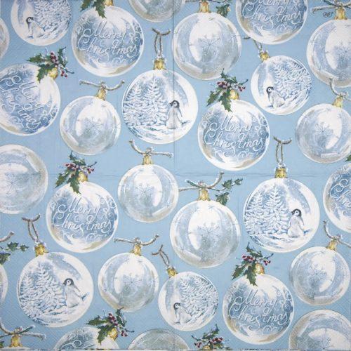Lunch Napkins (20) - Winter Baubles light blue
