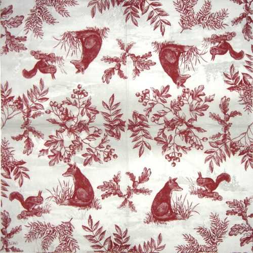 Lunch Napkins (20) - Winter Scene Red