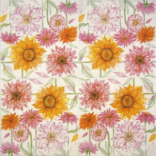 Lunch Napkins (20) - Drawn Garden Flowers