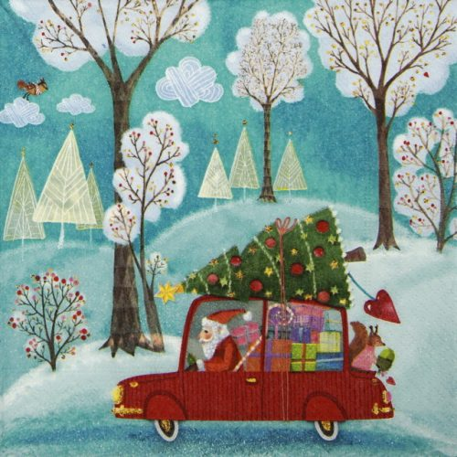 Lunch Napkins (20) - Santa by Car