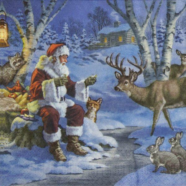 Paper Napkin - Santa in Forest
