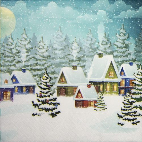 Paper Napkin - Village in Snow