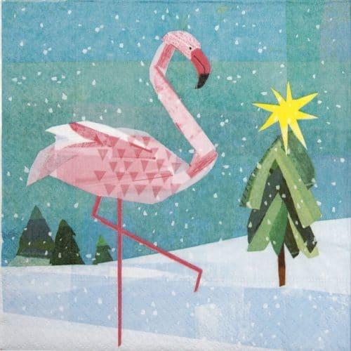 Paper Napkin - Winter Flamingo