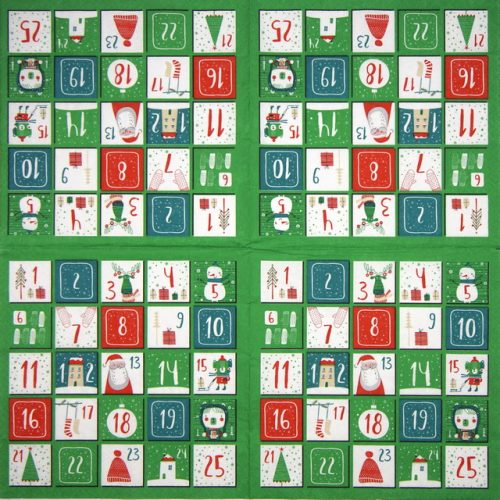 Paper Napkin - Advent Calendar Green
