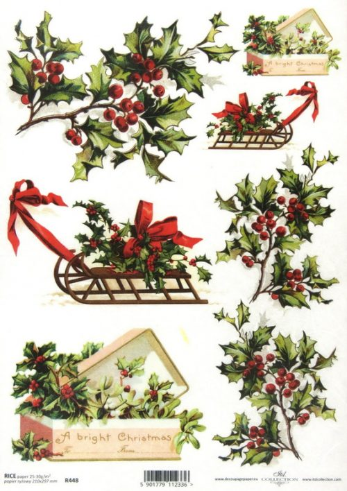 Rice Paper - Branches of Holly