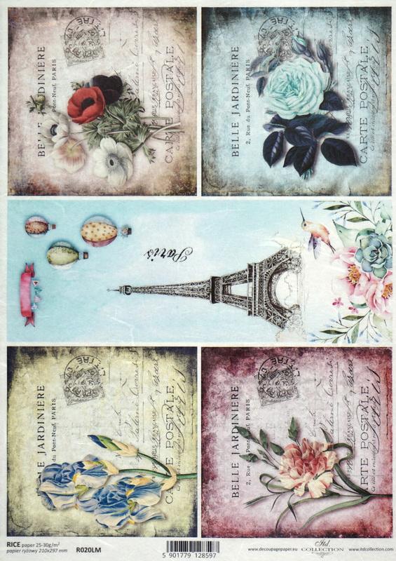 Rice Paper - Paris & Flower Collage