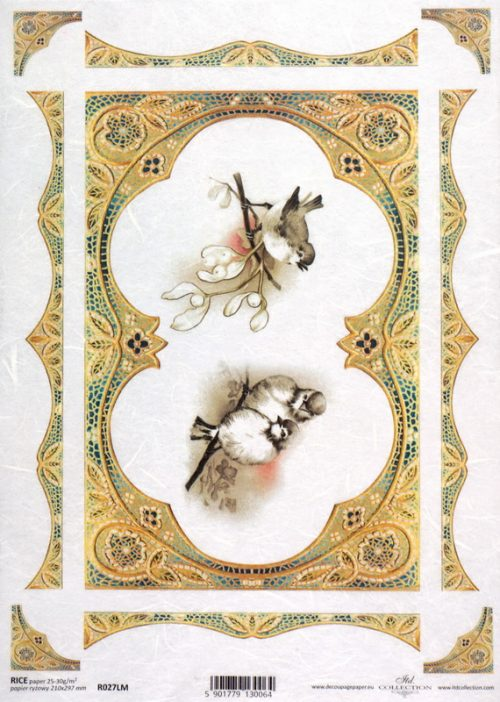 Rice Paper - Bird & Gold Frame