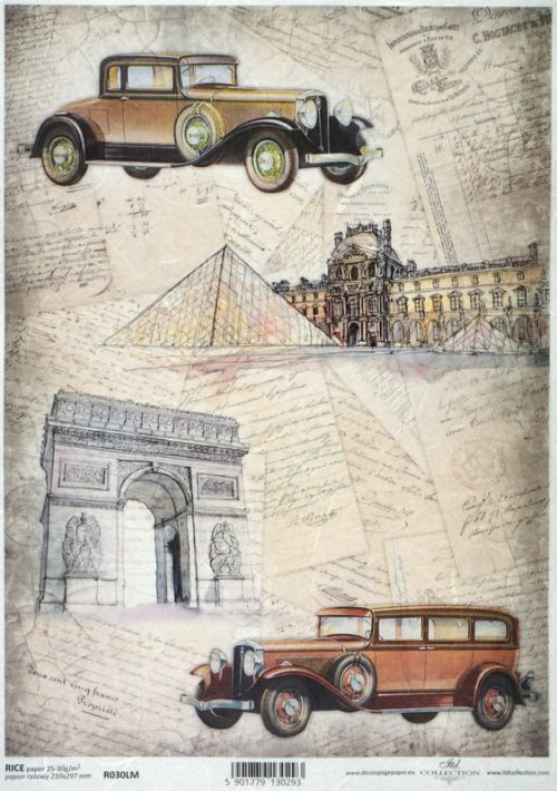 Rice Paper - Old Cars in Paris