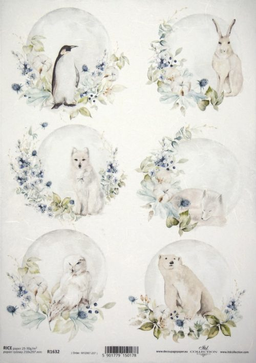 Rice Paper A/3 - White Animals