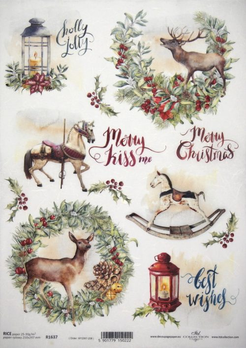 Rice Paper A/3 - Holly Jolly Christmas
