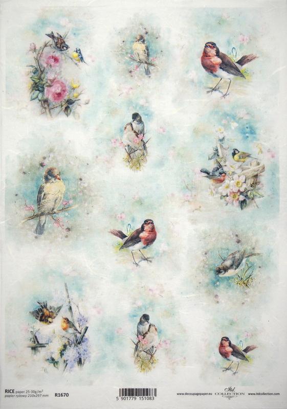 Rice Paper A/3 - Pretty Birds