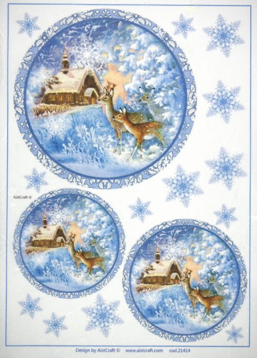 Rice Paper - Winter Deer at Night