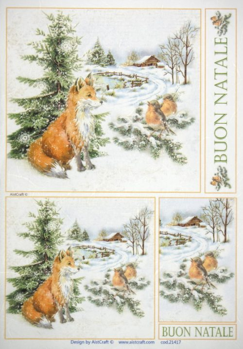Rice Paper - Fox and Birds in the Snow