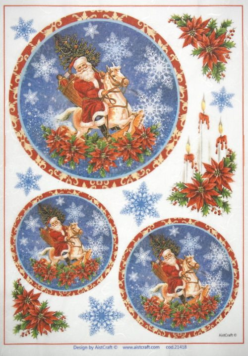 Rice Paper - Santa Claus Riding a Horse