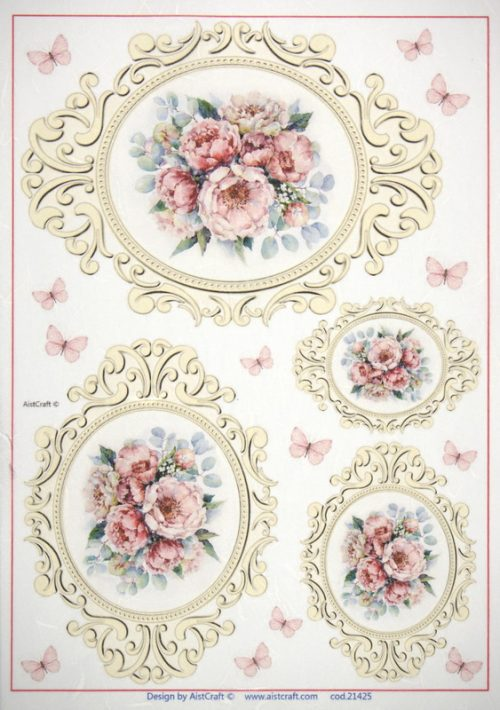 Rice Paper -  Roses in Antique Frames