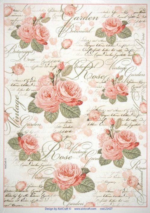 Rice Paper - Pink Roses