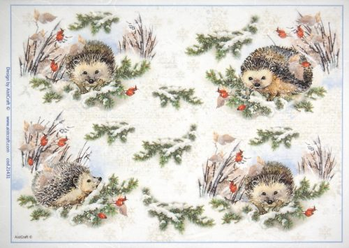 Rice Paper - Winter Forest  with Hedgehog