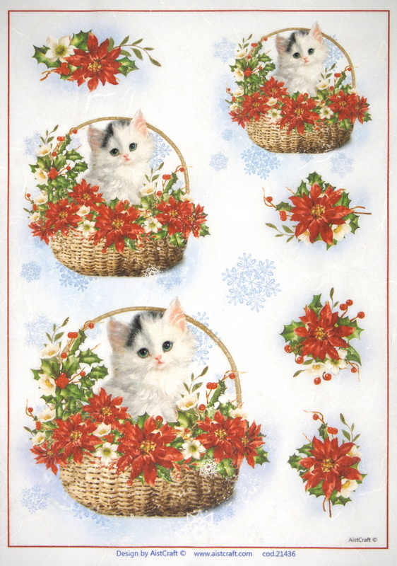 Rice Paper - Christmas Cat in Basket