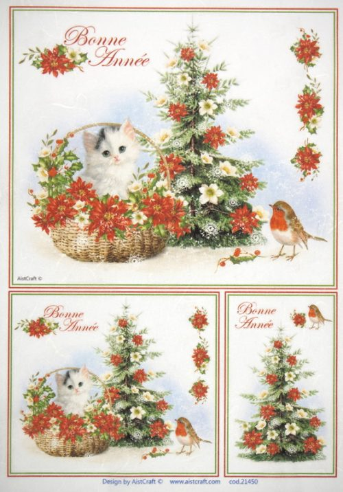Rice Paper - Christmas Cat