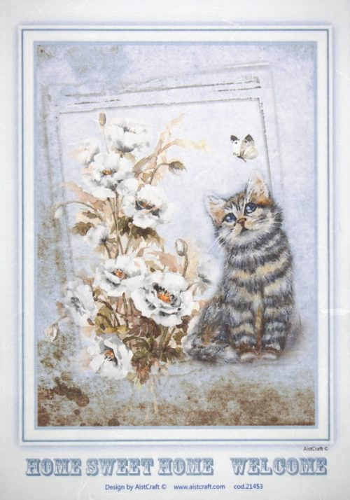 Rice Paper - Cat with flowers