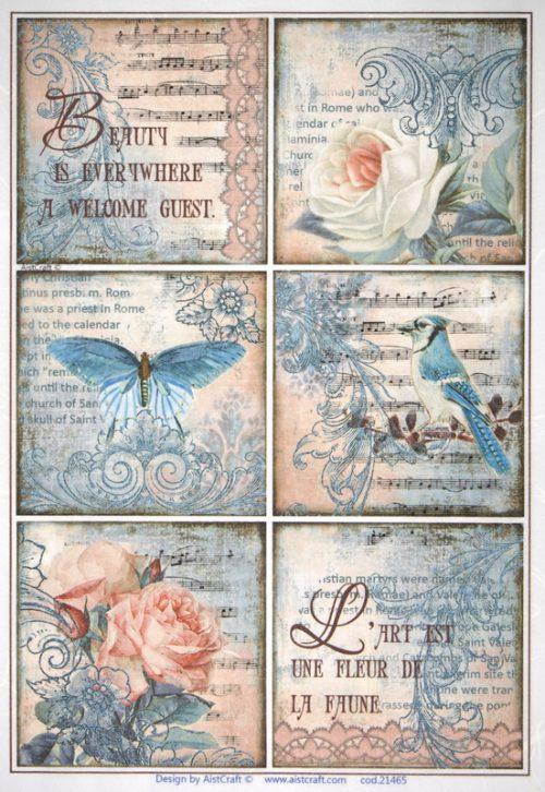 Rice Paper -  Rose, Bird, Butterfly