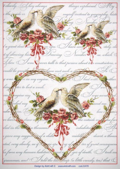 Rice Paper -  Love birds