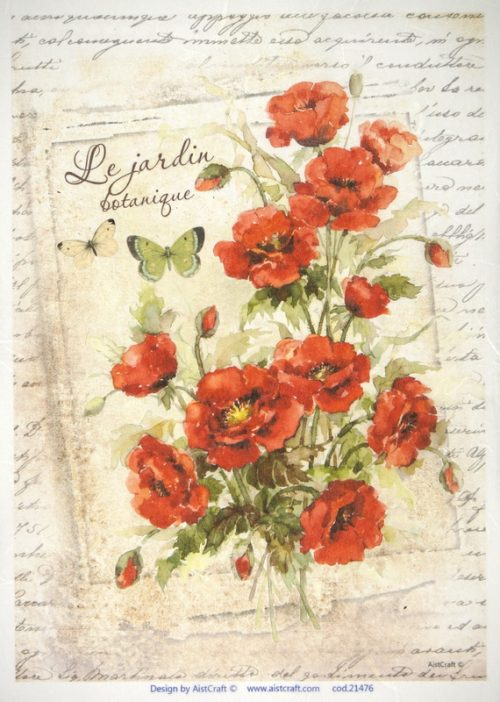 Rice Paper -  Poppies Card