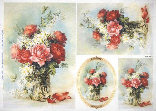 Rice Paper -  Roses in vase