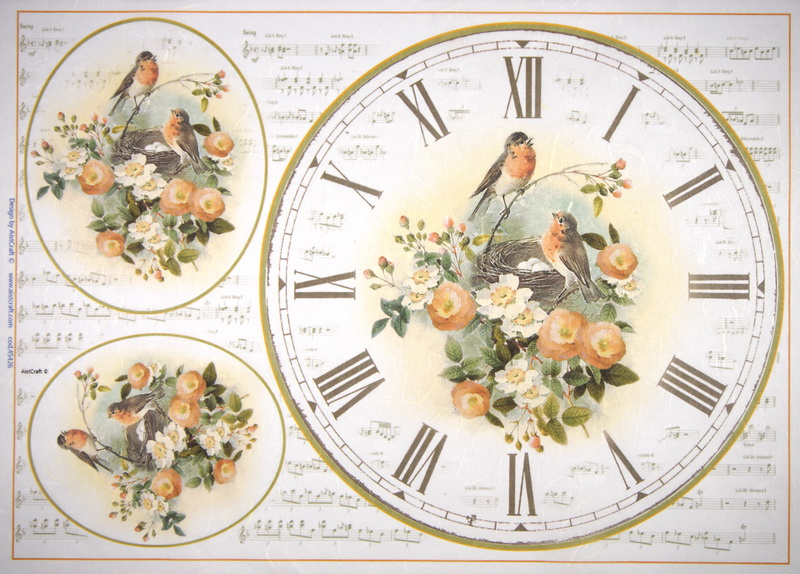 Rice Paper - Clock with birds