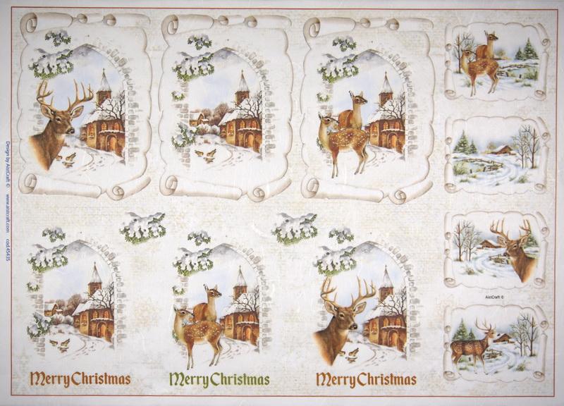 Rice Paper -  Merry Christmas Deer