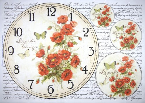 Rice Paper - Poppy clock