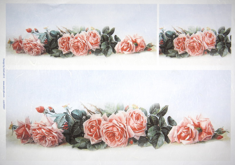 Rice Paper - Pink roses on blue
