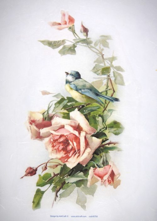 Rice Paper - Rose with bird