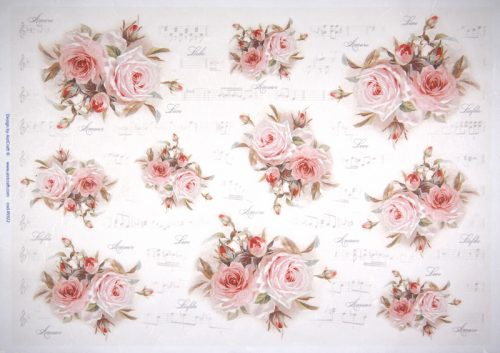 Rice Paper - Roses bouquets pink