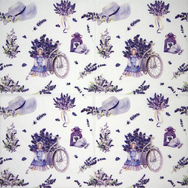 Paper Napkin - Lavender Bouquets with Tilda Doll