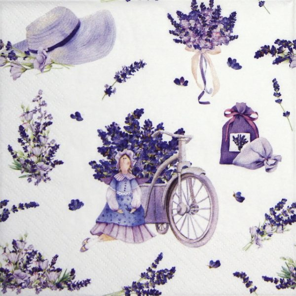 Lunch Napkins (20) - Lavender Bouquets with Tilda Doll