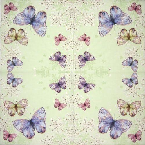 Lunch Napkins (20) -  Bellissima farfalla green