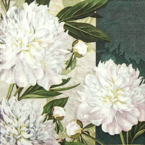 Paper Napkin - Dewed White Peonies